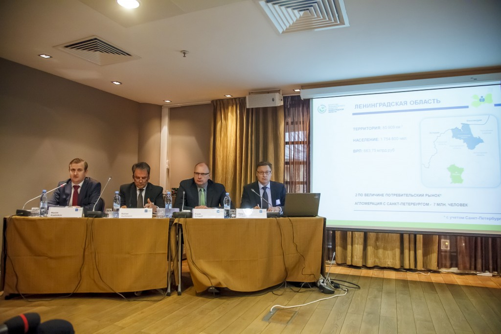 From the left First Deputy Chairman of the Committee of Economic Development and Investment Activity of Leningrad Region Maxim Kiselnikov , Chairman of AEB Board Reiner Hartmann, CEO of AEB Dr. Frank Schauff and Chairman of AEB North-Western Regional Committee Timo Mikkonen